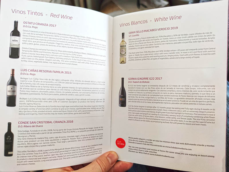 carta de vinos en iberia business class