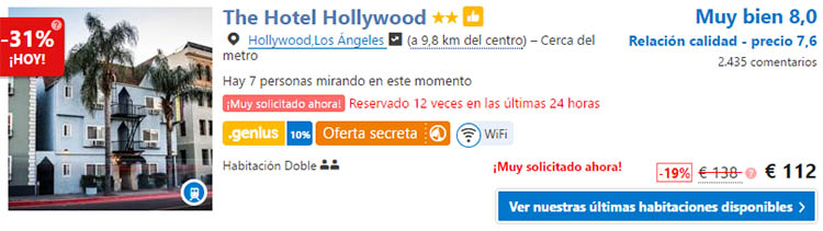 la the hotel hollywood precios