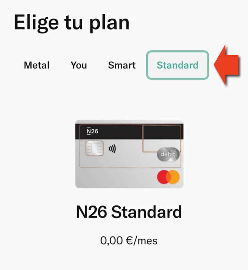 plan de n26 standard metal you business