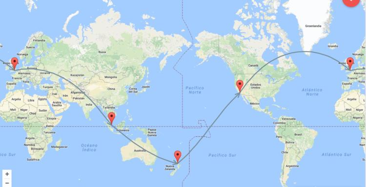 vuelta al mundo mapa air new zealand
